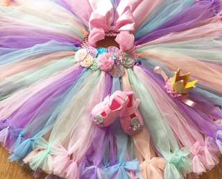 TUTU Dress with bow crown and shoes
