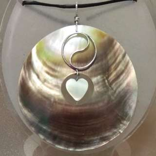 銀線貝殼手做吊飾shell pendant