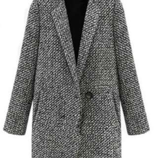 Winter warm lapel trench wool long parka coat