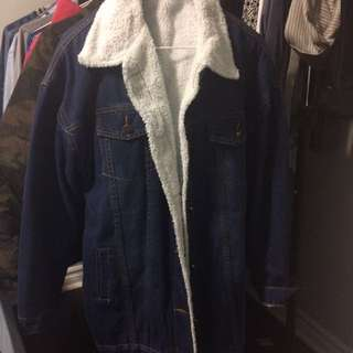 Oversized Sherpa denim jacket