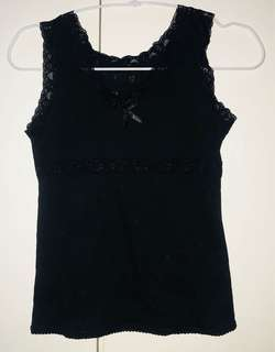 Black Laced Tank Top