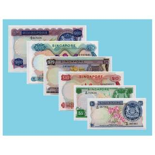 Singapore Orchid banknotes $1 - $100 set