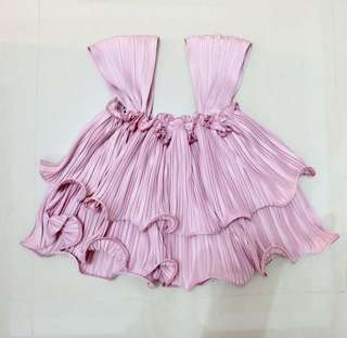 Pleated Pink Top