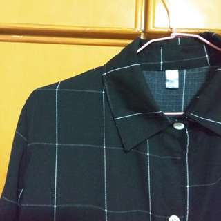 black and white grid button up shirt