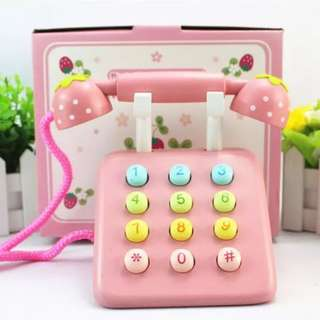 BN Wooden Strawberry Numbers Telephone Toy Set (Pink)