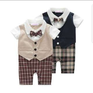 Tuxedo Vest Baby Romper