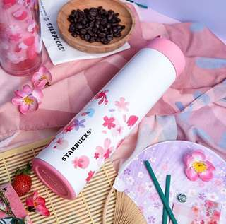Limited edition starbucks thermos tumbler japanese sakura blossom