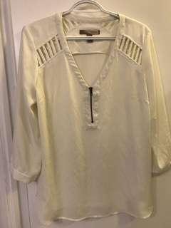 Forever21 Sheer White Top - Size Medium