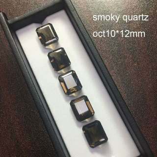 5pcs lot Natural smoky quartz oct10*12mm approx5.5ct each natural loose gemstone for silver jewelry mounting