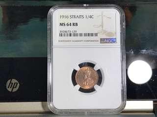 NGC 1916 Straits 1/4 cent