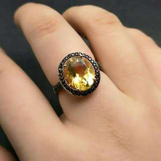 Citrine with Garnet Accent Gemstones 925 Sterling Silver Ring For Women