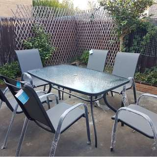 6 mesh sling outdoor chairs+tempered glass table