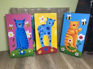3 oil painted cats