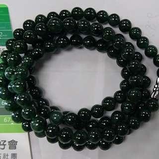 🚚 深綠長玉珠鏈(珠子大小約6.5mm)