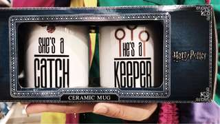 """""""she's a catch"""" / """"he's a keeper"""" / his & her mugs"""