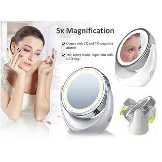 LED Illuminated Dual-Sided Magnification Mirror - Free Hair Fringe Velcro Tape