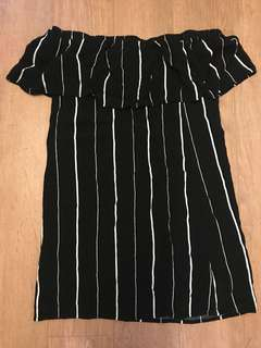Off-Shoulder Dress - XS, White & Navy Stripe