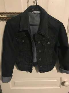 Crop black wash crop denim jean jacket