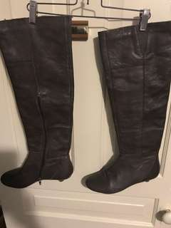 Nine West brown leather boots Sz 8.5