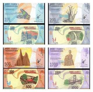 Madagascar 100,200,500,1000 Ariary banknote