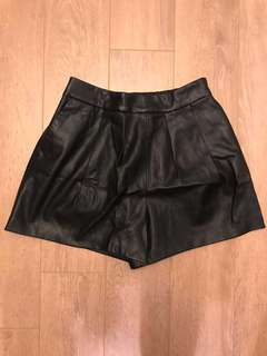 Zara Faux Leather High-waist Shorts -  XS, Black