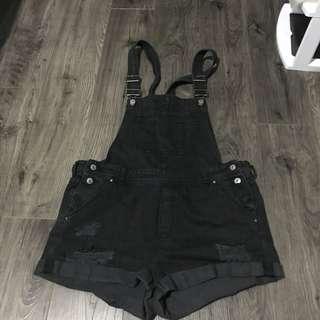 Black Denim Distressed Overalls Shorts