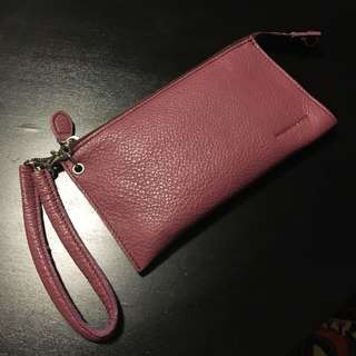 Rabeanco Soft Leather 100% Authentic Plum Wallet Luxury (value at 600+ hkd)