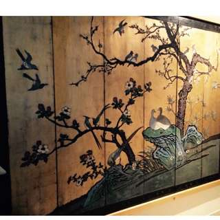 Antique Oriental Screen - Wood carved