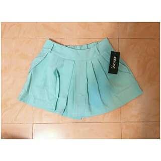 韓國宮庭復古高貴風薄荷綠色顯瘦寬鬆高腰短褲