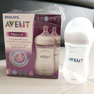 Avent Natural 2 Pack Bottles 260 ml with Teats - 1 NEW 1 USED