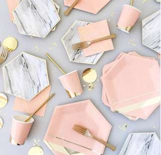 Disposable Pink Gold Marbled Cutleries Set