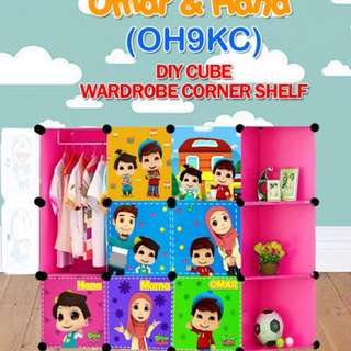9 cube wardrobe+corner shelf
