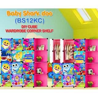12 cube wardrobe plain & cartoon with corner shelf