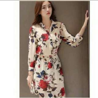 Korean Polo Floral Dress with Actual Picture