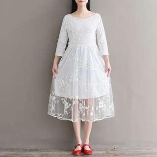 CR604 繡花圖案連身裙 (M L XL XXL)