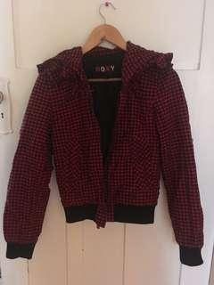 Red gingham bomber jacket