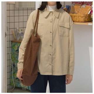🚚 全新 米白燈芯絨襯衫
