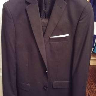 Men's black stripe suit jacket size 36 pant size 32