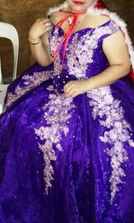 Violet Beaded and Embroidered long Ball gown