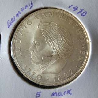1970 Germany 5 mark silver