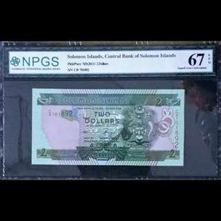 SOLOMON ISLANDS 2011 TWO DOLLARS  S/N C/8 7018992 GRADED