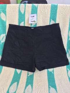 Black stretchy casual high waist shorts