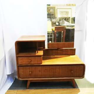 Art Deco Antique Teakwood Dressing Table (Refurbished)