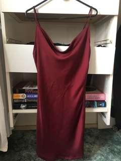 Silky Maroon Slip Dress