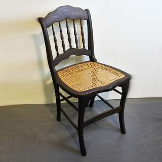 Antique Colonial Chair In Teakwood and Rattan (Refurnished)