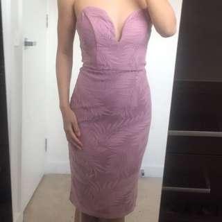 Blush midi dress plunge