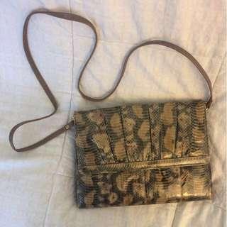 Shantung Snake Skin Clutch
