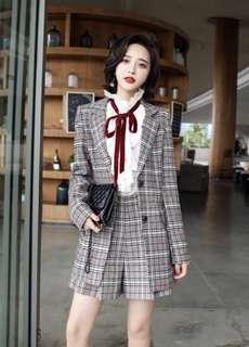 Checkered blazer elegant shorts terno PRE order