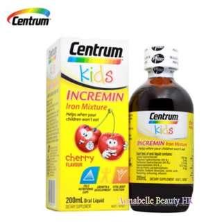 Centrum Kids Incremin 鐵混合 櫻桃味200ml $110   100% new & real
