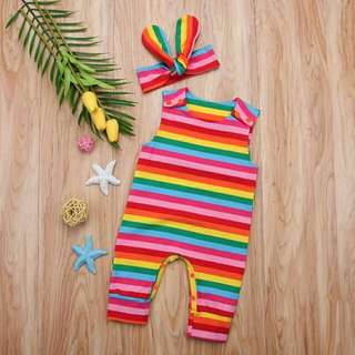 🍀Newborn Baby Girl Sleeveless Colorful Striped Jumpsuit+Headband 2pcs Set🍀